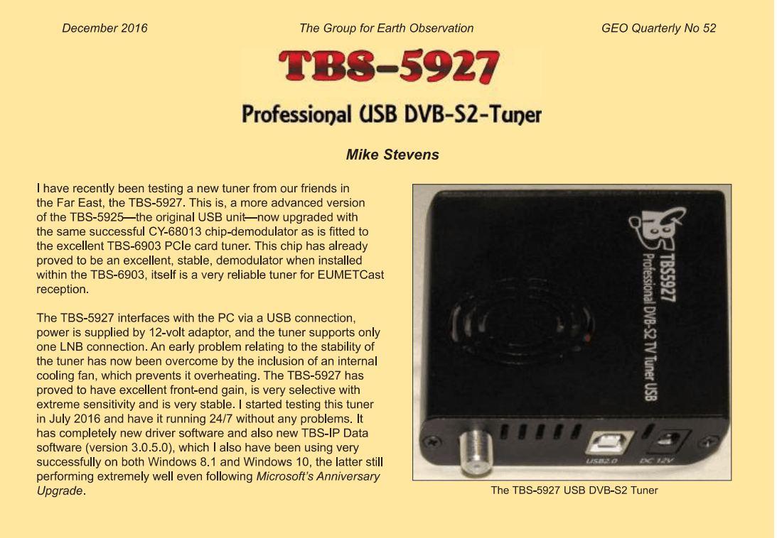 Tbs5927 Eumetcast Reception Test Report By Mike Tbs